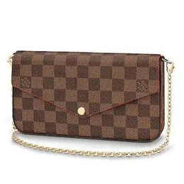 Chinese  N63032 POCHETTE FÉLICIE Grid pattern brown Real Caviar Lambskin Chain Flap Bag LONG CHAIN WALLETS KEY CARD HOLDERS PURSE CLUTCHES EVENING manufacturers