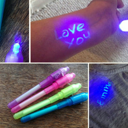 uv pen invisible ink UK - Creative Stationery Invisible Ink Pens 2 in 1 UV Light Magic Invisible Pens Plastic Highlighter Marker Pen School Office Pens BH2545 TQQ
