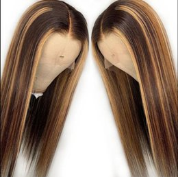 highlights human hair wigs Australia - Celebrity Wigs Lace Front Wig Straight 10A Omber Highlight Color European Virgin Human Hair Full Lace Wig for Black Woman Free Shipping
