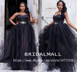 $enCountryForm.capitalKeyWord Australia - Plus size 2020 Sweetheart Black Prom Dresses With Crystal Sash High Side Split Formal Evening Gowns Saudi Arabic Party Dress Cocktail Ball