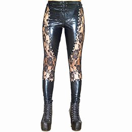 Laced Black Leggings UK - High Quality Women Club Stage Performance Sexy Black Lace Up Faux Leather Leggings Wet look Gothic Punk Rock Pants