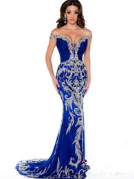 Size 22w Royal Blue Evening Gown UK - 2019 New Arrival Mermaid Evening Dresses Appliques Beading Arabic Dubai Kaftan Party Dress Satin Prom Gowns Vestido De Festa