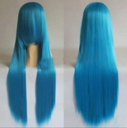 Long Hair Oblique Bangs Australia - WIG HOT Free >>>Hot!!Fashion Long Light Blue Oblique Bangs Straight Hair Women Cosplay Party Wig