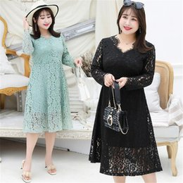 long sleeve robes womens NZ - vestidos de festa Openwork lace women dress sexy high waist long sleeve long dresses womens summer dress 2019 plus size 4XL robe femme