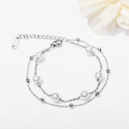 $enCountryForm.capitalKeyWord Australia - Hot Luxury Stainless Steel Artificial Pearl Silver Rose Gold Color Charm Chain Bracelet Elegant Fashion Jewelry Gift For Women