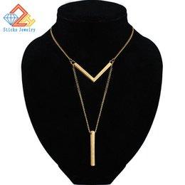 Опт Простой Классический Мода Stick Ожерелье Hollow Girl Длинные Звенья Цепи Квадратные Медные Ожерелья Длинные Полосы Ювелирные Изделия для Женщин