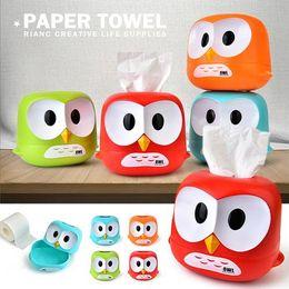 green napkin holder 2019 - Owl Tissue Box Toilet Paper Cover Case Napkin Holder Home Car Decor Red Blue Green Orange DEC474 cheap green napkin hold