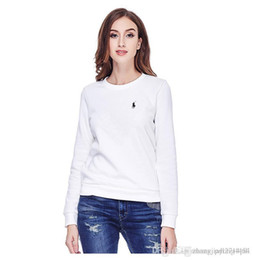Wholesale long sleeve polo for women resale online - Polo sport long sleeved round neck pullover for women spring new pure color loose casual sweater for women