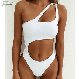 HigH waist swimwear online shopping - High Waist Sexy Beach Mujer Swimwear Women Swimsuit One Shoulder Bathing Bikinis Wear Halter Swimming Suit For Women