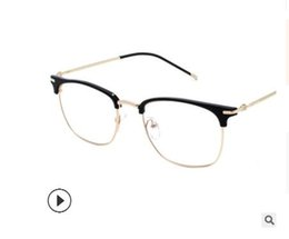 sexy flats UK - 2019 New Frame Glasses For Men Retro Glasses Frame Half-frame Glasses Goggles Sexy Men Flat Mirror