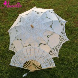 $enCountryForm.capitalKeyWord NZ - Adult size Vintage Battenburg Lace Parasol and Fan Sun Umbrella Set Bride Forest Party Shower Photo Prop Decoration Umbrella
