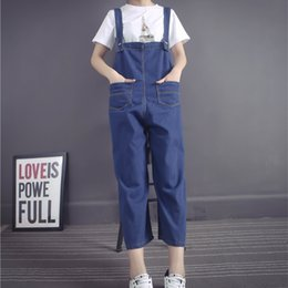 fitted denim jumpsuit 2019 - On sale women ladies pluse size denim strap jean jumpsuit loose fitting sleeveless casual feminino overalls dungarees pl