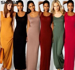 Discount sexy tight vest dresses - Designer Women Tight Dress Brand Women s 20 Color 5 Yards Elegant Sexy Vest Long Skirt Fashion Dress Models Size Availab