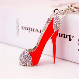 stainless steel heels shoes Australia - Fashion jewelry Red Diamond High Heel shoes keychains Mini women Crystal Shoe keyrings handbag hanging Phone Charms Pendant