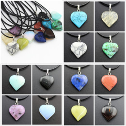 Cheap Turquoise Pendants Australia - Rope Leather Necklaces Statement Jewelry Cheap Healing Crystals Turquoise Rose Quartz Heart Moon Natural Stone Pendants Stone Necklace