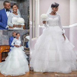 $enCountryForm.capitalKeyWord Australia - 2019 Modest Wedding Dresses Tiered Skirts Jewel Neck Long Sleeves Plus Size Wedding Gowns Crystal Sash Sequins Country Bridal Dress