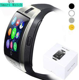 Digital Wrist Gps Canada - Smart Watch Q18 Digital Wrist with Men Bluetooth Electronics SIM Card Sport Smartwatch Camera For iPhone Android Phone
