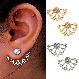 $enCountryForm.capitalKeyWord Australia - Hollow Lotus Shaped Trinket Earrings Ear Nail Clip Personality Simple Sunflower Double-sided Diamond Stud Ear-Rings Gift for Girl Women