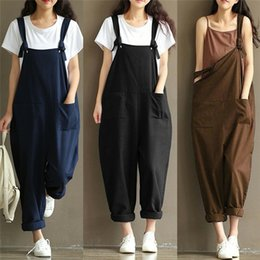 Harem Jumpsuits Women Australia - Women Girl Loose Solid Cotton linen Jumpsuit Strap Dungaree Harem Trousers Ladies Overall Pants Casual Playsuits Plus Size M-3XL