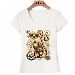 Wholesale 2018 new spring summer Women s short sleeve steampunk set Heart Love Machine T Shirt cat owl design casual Tops cute girl