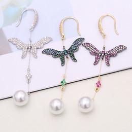 $enCountryForm.capitalKeyWord Australia - Designer Wedding Jewelry Women Long Butterfly Earrings S925 Silver Full Diamond Dangler Lady Fashion Pearl Earring