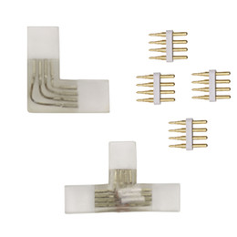Rgb Connector L Australia - 4 pin L T shape RGB Corner connector middle With Copper needle connector for 110V 220V LED Strip 5050 3528 RGB Connector