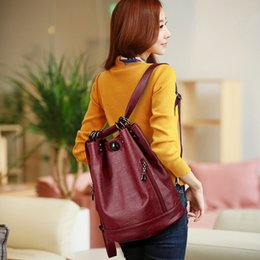 double shoulder backpack Australia - Women Backpack PU Female Backpacks Vintage Leather School Bags Large Capacity School Bag For Girls Double Zipper Shoulder Bags