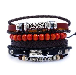 $enCountryForm.capitalKeyWord Australia - 20 styles Mix Order Multi-layer Bracelets Mens Genuine Leather DIY Bracelet Retro Alloy Men Punk Jewelry Charm Bracelets Accessories
