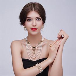 Pearl Bridal Jewellery Australia - Cweel Fashion Dubai African Beads Jewelry Sets For Women Wedding Vintage Indian Bridal Costume Imitation Pearl Jewellery Set J190523