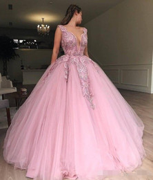 Make Coral Beaded Ball Bead Australia - Luxury Beading Pink Quinceanera Dresses Plunging V Neck Straps 2019 Cutom Made Tulle Floor Length Beaded Sweet 16 Pageant Prom Ball Gown
