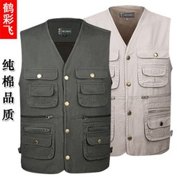 Vest photography online shopping - 2019 cotton men s spring and autumn multi pocket photography horse clip loose vest leisure washed vest