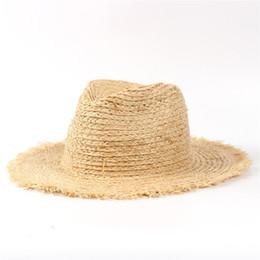 $enCountryForm.capitalKeyWord Australia - 100% Raffia Straw Summer Women Travel Beach Sun Hat For Elegant Lady Fedora Floppy Wide Brim Panama Sunbonnet Y19070503