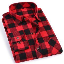 $enCountryForm.capitalKeyWord Australia - Black Red Plaid Men's Flannel Shirt Slim Fit Soft Comfortable Spring Male Shirt Brand Men's Casual Long-sleeved Shirts 4XL