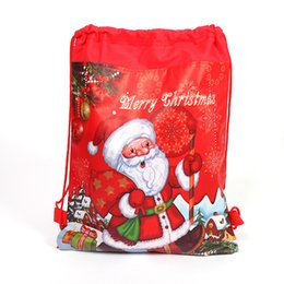 $enCountryForm.capitalKeyWord UK - Santa Claus Drawstring Bags 34x27cm Non Woven Double Printed Sling Bag Kids Toy Storage Bags Schoolbag Gift for Girls Party Birthday lin4579