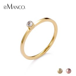 $enCountryForm.capitalKeyWord Australia - Cheap Engagement eManco Stainless Steel Rings With Cubic Zirconia Simple Rings For Women Rose Gold Color Luxury Fashion Anniversary Gifts