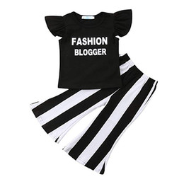 Wholesale Baby Girl Clothes Black Ruffle Short Sleeve Fashion Blogger Letter Shirt Tops Black and White Stripe Bell Bottom Pants Set T shirt Outfits