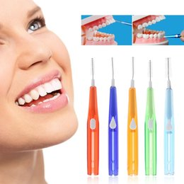interdental brushes Australia - 10Pcs Dental Oral Hygiene Push-pull Interdental Brush Adults Tooth Cleaning Floss Brush Tooth Pick 5 Size Random colors