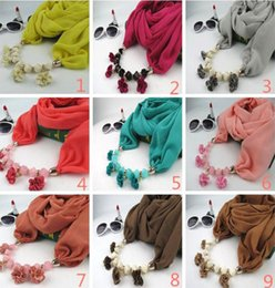 wholesale chiffon flowers Australia - Fabric Flowers Pendant Scarves Classic Natioanl Ethnic Muslim Scarf 2019 Spring and Autumn Fashion Women Plain Chiffon Wrap Wholesale LSF091