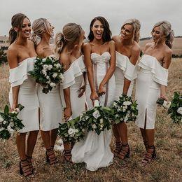 Short Bohemian Bridesmaid Dress White Australia - 2019 Bohemian Short Bridesmaid Dresses White Chffion Sheath Side Split Maid Of Honoe Wedding Guest Gown Custom Made Hot Sale