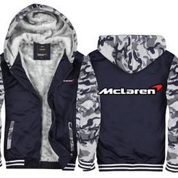 Cotton Trucks Australia - Camouflage McLaren Car Auto Truck Retro Casual Thicken Hooded Sweatshirts Cotton Zipper Winter Cardigan Jacket USA EU Size