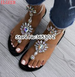 Crystal Diamond Fabrics Australia - Gladiator Ankle Wrap Rhinestone Diamond Embellished Sandals Summer Fashion Crystal Women Flats Shoes Clip-on Casual Beach Shoes
