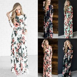 Woman s petticoat online shopping - Fashion Summer Dresses Women Floral Printed Short Long Sleeve Boho Dress Evening Gown Party Long Maxi Petticoat Womens Clothing Size S XL