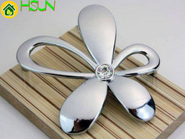 "Chrome Crystal Cabinet Pulls Australia - 2.5"" Silver Glass Dresser Pulls Drawer Pulls Knobs Handle Crystal Cabinet Handle Rhinestone Flower Furniture Knobs Hardware 64mm"