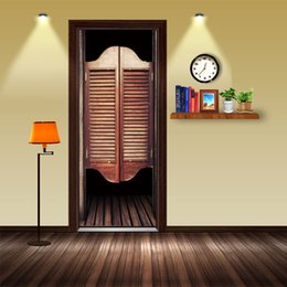 $enCountryForm.capitalKeyWord Australia - 2pcs set 3D Simulation Wooden Door DIY Door Art Mural Sticker Self-adhesive PVC Wall Sticker Home Decor Bedroom Wallpaper Poster