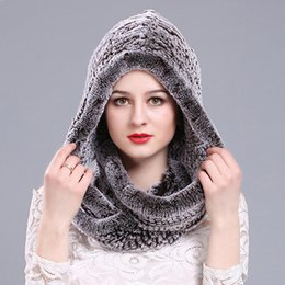Rabbit Fur Scarves Caps Australia - Women 2018 Real Rex Rabbit Fur Hat Hooded Scarf Winter Warm Natural Fur Hat With Neck Scarves Rex Rabbit Knitted Cap and