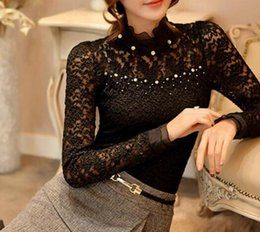 e168a1419c2 New Arrivals Plus Size Blusas Lace Women Blouse Ruffled Collar Long Sleeve  Blouse with Bead Women Clothing Blusas Femininas