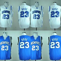 $enCountryForm.capitalKeyWord NZ - Men Memphis Tigers #23 Derrick Rose White Home College University Basketball Jersey White Blue Breathable Sportswear Size S-XXL