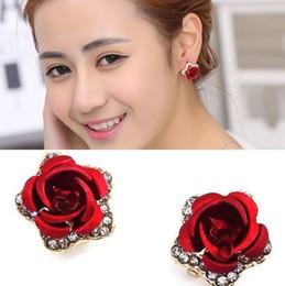rose silver cross earrings 2019 - Jewelry Crystal Rose Flowers Stud Soft Mat Ear Clip Women Girl Earrings Christmas GIft
