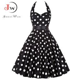 Prom Dresses Polka Dots Australia - Plus Size Polka Dot Dress Women Vintage Swing Halter Belt 50s 60s Rockabilly Prom Party Dresses Retro Feminino Vestidos Q190511