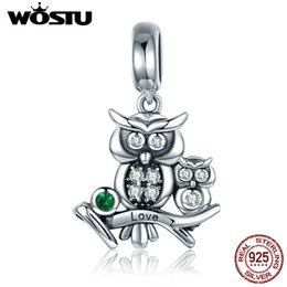 story charms NZ - WOSTU Authentic 100% 925 Sterling Silver Cute Owl Love Story Charms fit original WST Bracelets DIY Jewelry Gift CQC425